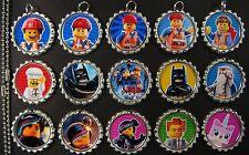 15 Batman Movie SILVER Flat Bottle Cap Necklaces Set 2