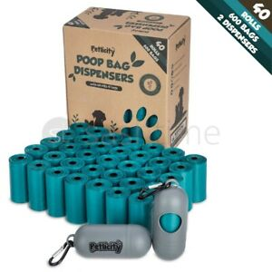 600 Dog Poo Bags Large Thick Dog Poop Tie Handles Doggy 2 Dispenser Scooper Bags