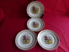 4 assiettes plates en céramique,scéne galante,marquis,marquise (4)