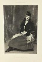 Gravure ancienne à l'eau forte XIXe- E A CAROLUS DURAN «Mlle C. D.» salon 1888