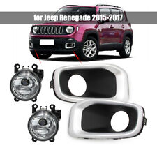 PAIR Fog Driving Lights Bumper Factory Lamp w/ Bezel for Jeep Renegade 2015-2017