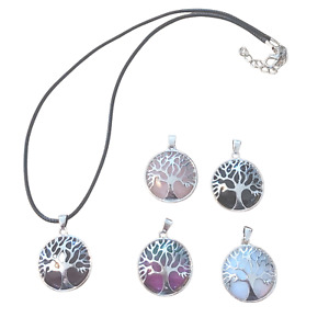 Tree of Life Gemstone Crystal or Coloured Glass Pendant Necklace