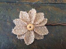Handmade Natural Burlap Flower Hair Pin Bridal Wedding Spring Easter Summer