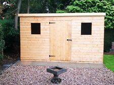 NEW 10x8FT PENT HEAVY DUTY T&G SOLID TIMBER FULLY FITTED INSTALLED GARDEN SHED