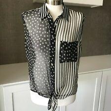 Equipment Femme Sz Small Button Front Tie Waist Tank Top Stars Stripes READ