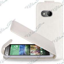 Accessoire Housse Coque Etui Simili Rabat Cuir BLANC HTC One Mini 2 / M8 Mini