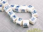 20pcs 10mm Blue Words Cube Square Ceramic Porcelain Big Hole Loose Beads