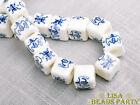 20pcs 10mm Blue Words Cube Square Ceramic Porcelain Big Hole Loose Beads