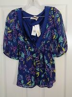 Yumi Kim Nordstrom Women's Top Silk Floral Blue Tunic Size Small NWT