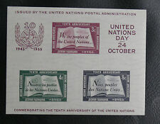 TIMBRES NATIONS UNIES : NEW YORK BLOC N° 1* AVEC 2 PETITES TRACES DE CHARNIERE