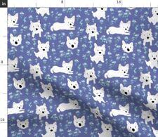 Terrier Dog Breed Westie Floral Purple Fabric Printed by Spoonflower BTY