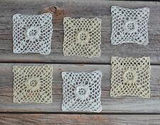 Set 6 Square Crochet Lace Small Doilies Lot in bulk Cotton Sewing Appliques