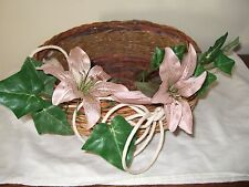 BASKET WITH ARTIFICIAL FLOWERS AROUND