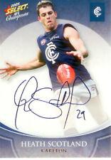 2008 Select AFL Champions Blue Foil Printed Signature FS17 H. Scotland (Carlton)