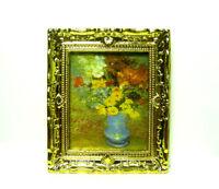 1:12 Dollhouse Miniature Golden Frame Art Wall Picture Flower Vase Oil Painting
