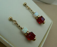 Art Deco style 14ct Gold Filled cube earrings with White Opal & Siam Red crystal
