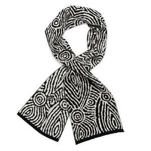 Black & White Aboriginal Art Woollen Scarf