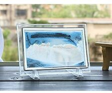 Blue Moving Sand Glass Picture Home Office Desk Decor Birthday Xmas Gift W/ Hold