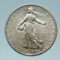 1918 FRANCE Antique Silver 2 Francs French Coin w La Semeuse Sower Woman i83103