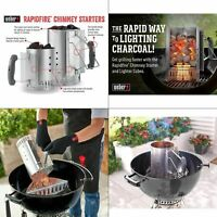 Weber Charcoal Starter Lighter Can Fire Grill Bin Grate Handle Steel Chimney