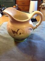 Vintage Pottery Pitcher Green Purple Ceramic
