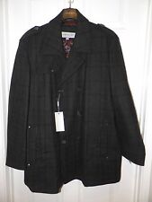 MEN'S ANDREW MARC PLAID DOUBLE BREASTED WOOL COAT SZ XXL NWT