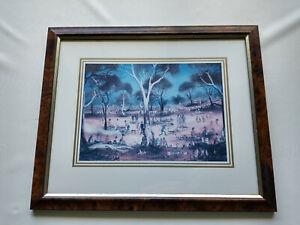 Pro Hart Framed Print 'CHOP PICNIC at the CREEK' Signature Australian Artist