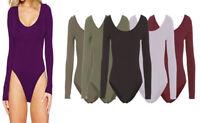 New Ladies Round Neck Long Sleeve Basic Plain Slim Fit Jersey Leotard Bodysuit