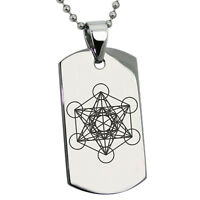 Stainless Steel Enoch Metatron's Cube Symbol Mens Dog Tag Necklace or Keychain