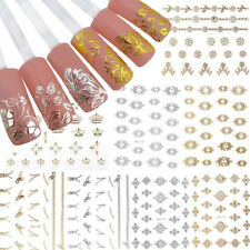 12 Sheets Gold&silver 3D Flower Nail Stickers Manicure Decals Nail Art DIY Set