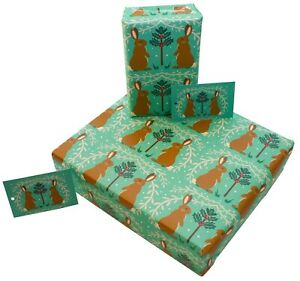 Christmas Green Rabbits Xmas Wrapping Paper Gift Wrap 100% Recycled