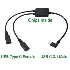 USB Type 3.1 C Y Splitter Cable Male Angle to 2 Female OTG Data Charger Charging