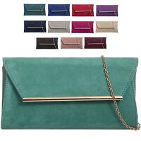 Ladies Designer Suede Style Clutch Bag Envelope Evening Bag Party Handbag KW315