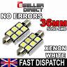 2x White 3/6LED 5050 SMD Festoon Dome Car Light Pair Interior Lamp Bulb 12V Pair