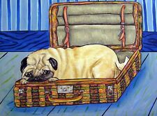 Pug dog in a suitecase  dog art print 8x10