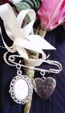 New Bride/Groom Handmade Wedding Buttonhole, Bouquet, Lapel, Cameo Memory Pin