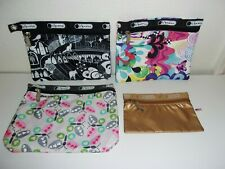 Lot of 4 LeSportsac Multicolor Makeup / Cosmetic Bags Gold Metallic Butterfly