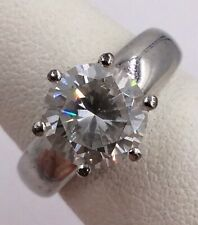 Engagement Ring Size 7 4.5gr Sterling Silver Solitaire Cubic Zirconia