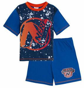 Boys Nerf Short Pyjamas Kids Summer Shortie Pjs Set Nightwear T-Shirt + Shorts