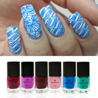 6 Bottles 6ml Born Pretty Nail Art Stamping Plate Polish  Stamp Varnish