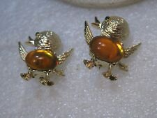 Gerry's Pair Baby Bird Brooches, Amber Jelly Belly, Baby Chicks, 1960's