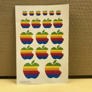 Rare SHEET of 18 Stickers of Apple Computer's colorful rainbow logo