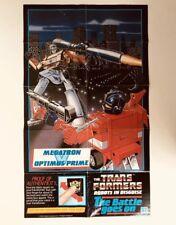 Transformers G1 1985 Hasbro Poster Leaflet Megatron Vs Optimus Prime Rare