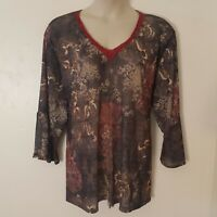 Mossimo Black Red Floral 3/4 Bell Sleeve Tie Back Sheer Top Blouse Plus Size 3X
