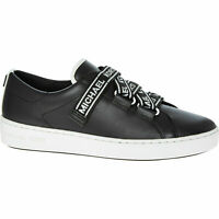 £135 MICHAEL KORS Designer Casey Black Lea Slogan Comfy Fashion Sneakers UK 7.5