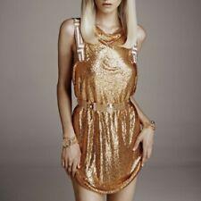 Mini Vestido Versace H&M Raro Cadena De Oro Fiesta de cambio de deslizamiento UK 14 EU 40 Medio Bnwt