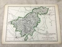 Antique Map of Northamptonshire County England 19th Century Old Hand Coloured