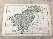 Antik Map Of Northamptonshire Grafschaft England 19th Century Alte Hand- Farbig