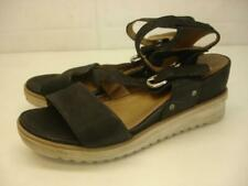 Women's 8.5 9 39 Miz Mooz Shay Black Leather Gladiator Sandals Ankle Strap Wedge