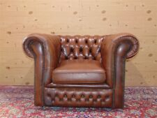 Chesterfield Club armchair, original English Vintage in brown leather.